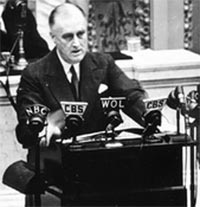 FDR addresses US following Pearl Harbor