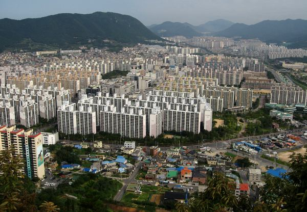 Concrete apartments in Gimhae, Republic of Korea, extend to the horizon.
